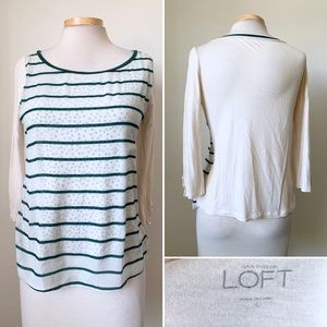 Anne Taylor Loft Women's Top Cream and Green